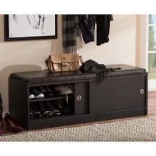 Item 2 Wood Storage Bench Shoe Cabinet Faux Leather Cushion Sliding Door Entry Espresso