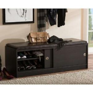 Details About Wood Storage Bench Shoe Cabinet Faux Leather Cushion Sliding Door Entry Espresso