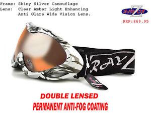 e8d4441511d Caricamento dell immagine in corso Rayzor-Mimetico-Sci-Snowboard-Occhiali- 100-UV400-CHIARO-