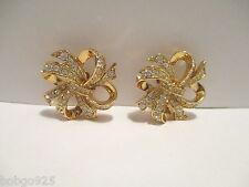 Earrings KJL Avon Ribbon Bow Kenneth Jay Lane Rhinestone Goldtone Clip-on K.J.L.