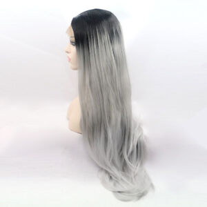 Silver-gray-ombre-black-natual-look-hair-makeup-lace-front-Wig-Long-WOMEN-wigs