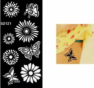 0014ee5db013f Image is loading FLowers-Butterflies-Hand-Arm-Tattoo-Stencil-Henna-Art-