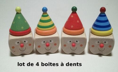 """en bois,4 boites,envoi gratuit,bouchon vissé *G15 lot de boites à dents /""""clown/"""""""