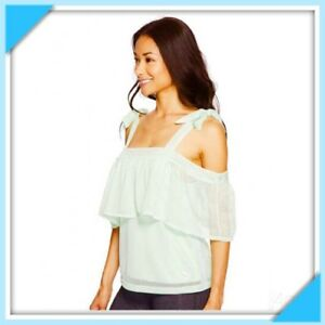 e58c0ae15c3d11 Details about New PUMA Womens Mint Green Off Shoulder Mesh Tee Top Blouse  Shirt Medium M