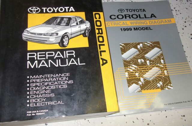 1999 Toyota Corolla Service Repair Shop Manual Set W