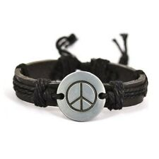 Black Genuine Leather Peace Sign Bracelet Wristband Peace Symbol Charm Hippy