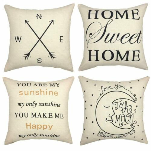 YOUR SMILE Set of 4 Decorative Throw Pillow Cover Cushion Case Square 18x18 Inch