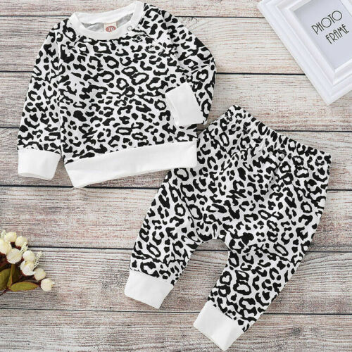 Baby Girls Children Long Sleeve Print 2PCS Tops+Pants Outfits Sets 3-24 Months
