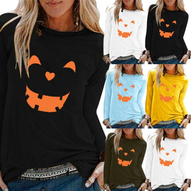 Women Halloween Blouse Long Sleeve Top Pumpkin T-Shirt Pullover Sweatshirt Tunic