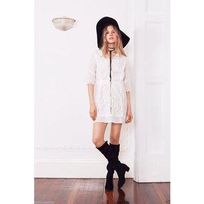 Stevie May Sheer Inserts Regular Fit White Rose Raw Linen Mini Dress SM-0353