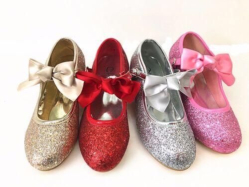 Bambine brevetto Glitter Matrimonio Bristal smaid Diamante Scarpe da sera con tacco basso