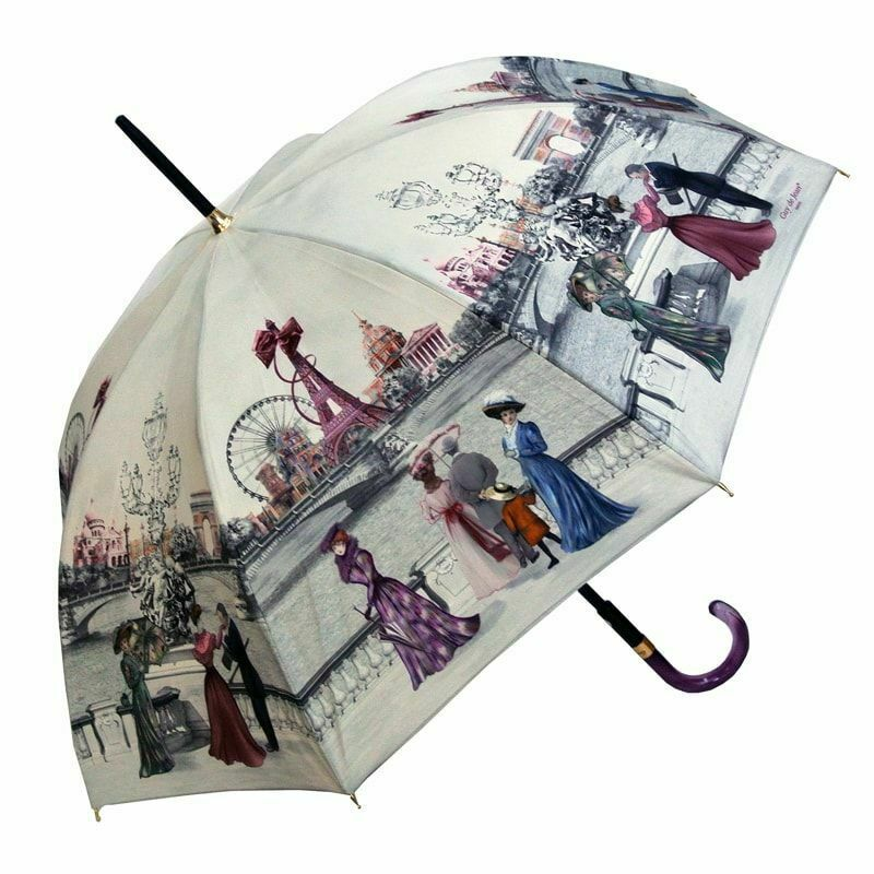 French Umbrella with Vintage Paris 1900 Scene Printed Canopy