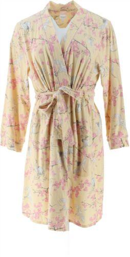 Beauty Sleep BedHead Cotton Stretch Kimono Robe Cranes 1X NEW A346770
