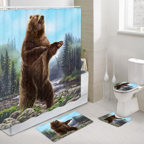 Roaring Brown Bear Shower Curtain Toilet Cover Rug Bath Mat Contour Rug Set