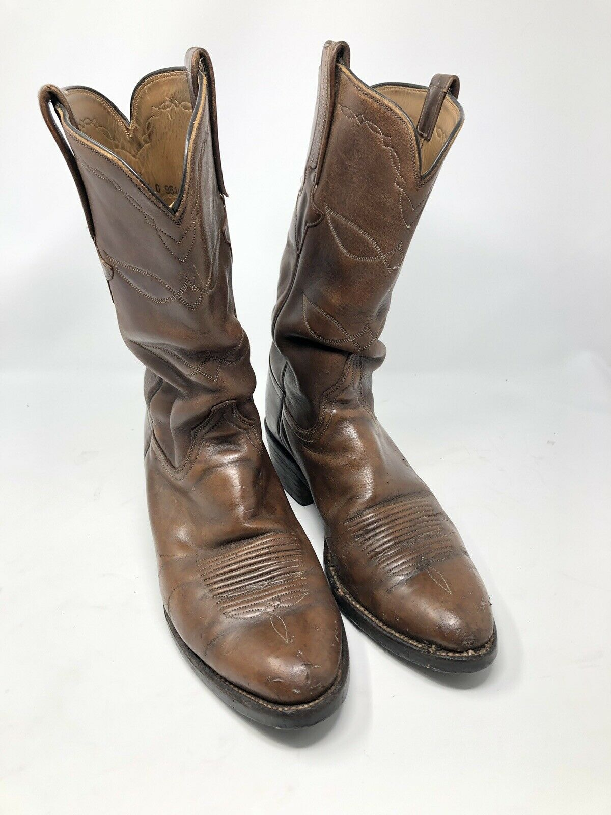 Rare Lucchese Classics Handmade in USA Brown Cowboy Heel Boots 10.5 C L2004