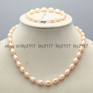 """Pretty Genuine Natural 7-8mm Pink Akoya Freshwater Pearl Necklace 18/""""AAA"""