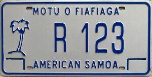 American Samoa Motu O Fiafiaga Licence License Number Plate Tag R 123