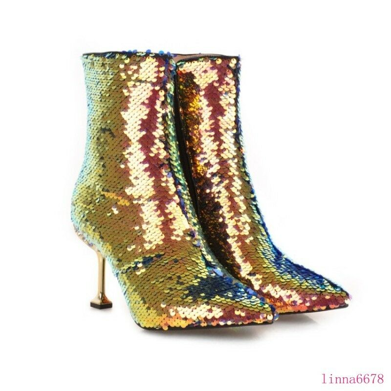 Para mujeres Zapatos Stilettos Tacón Tacón Tacón Alto Puntera Puntiaguda Lentejuelas Brillante botas al Tobillo Cremallera Lateral 51ee45
