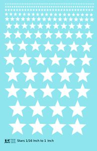 K4-All-Scales-Decals-Five-Point-Stars-1-16-To-1-Inch-White