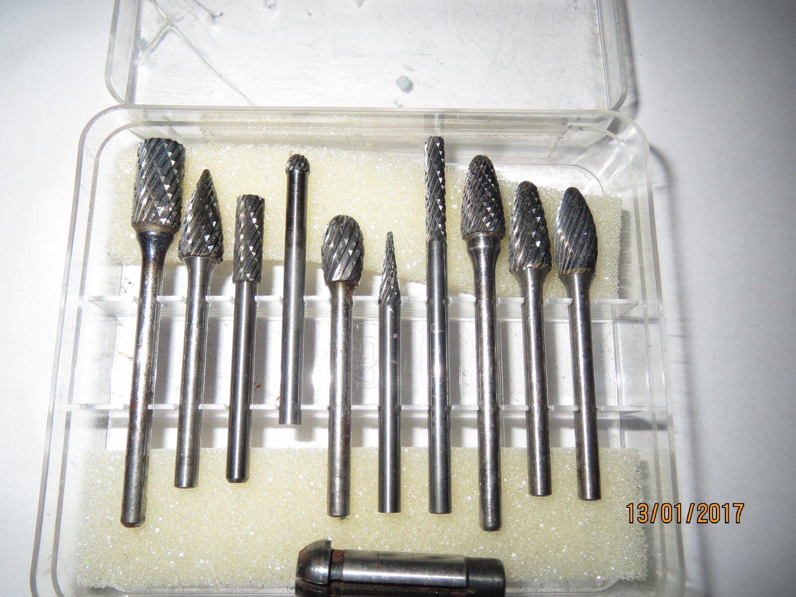 10 Hartmetall Frässtifte mit 3mm Schaft und 3mm roturzierhülse