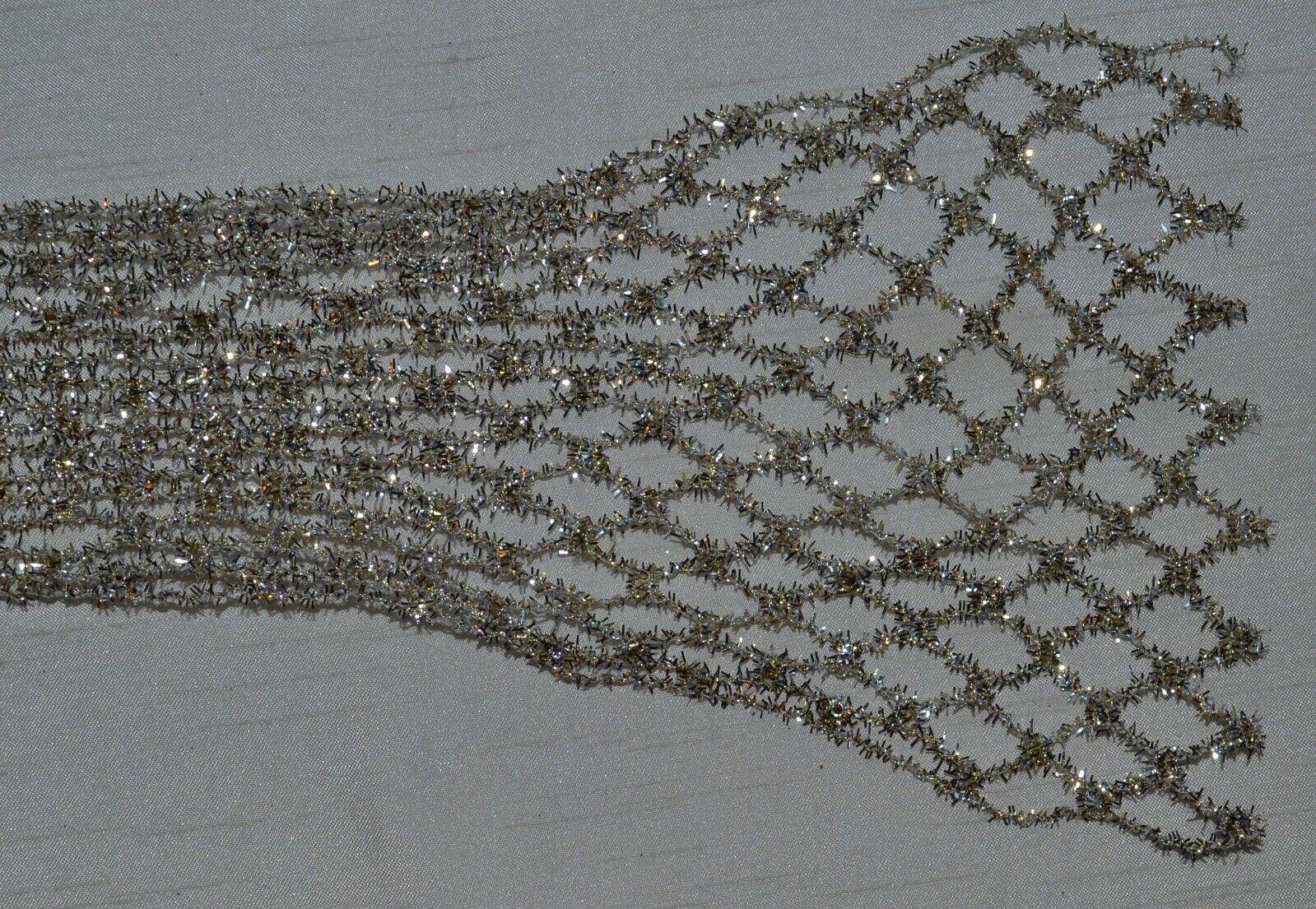 Gold Berisfords 40 mm Wired Tinsel Mesh Ribbon