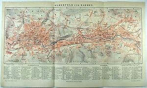 Original-1889-City-Map-of-Elberfeld-and-Barmen-Wuppertal-Germany-by-Meyers