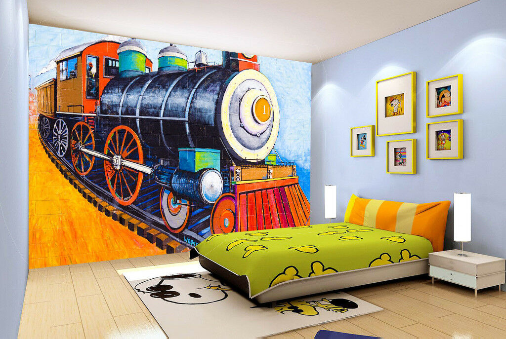 3D Railway Engine 78 Wall Paper Murals Wall Print Wall Wallpaper Mural AU Kyra