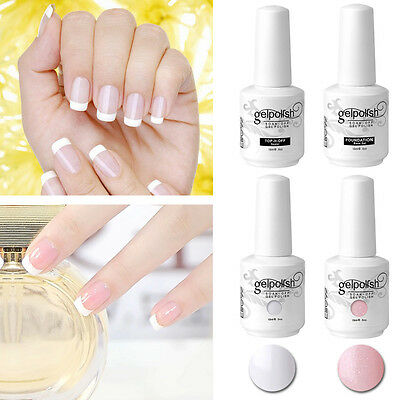 Elite99 Gel Polish French Manicure Set Base Top Coat Pink White w/ Free Sticker