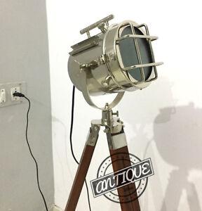 Wooden-Stand-Tripod-Vintage-Floor-Spot-light-Lamp-Searchlight-Lamp-E27-Globe-LED