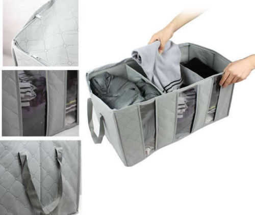 2pack 65L Large Charcoal Clothes Sweaters Blankets Closet Organizer Storage Bag
