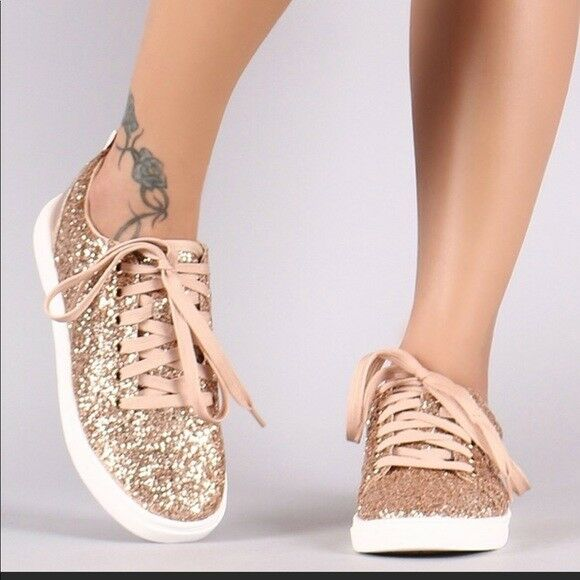 LADIES Encrusted Sparkling Glitter Lace Up pink gold Sneaker. size 7,8,9,10