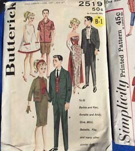 Vintage Butterick 2519 Boy Girl Doll Pattern For Barbie Ken Etc