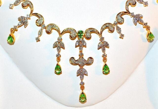 NATURAL 11CTS VS G DIAMOND TSAVORITE GREEN GARNET 18K GOLD NECKLACE EARRINGS SET