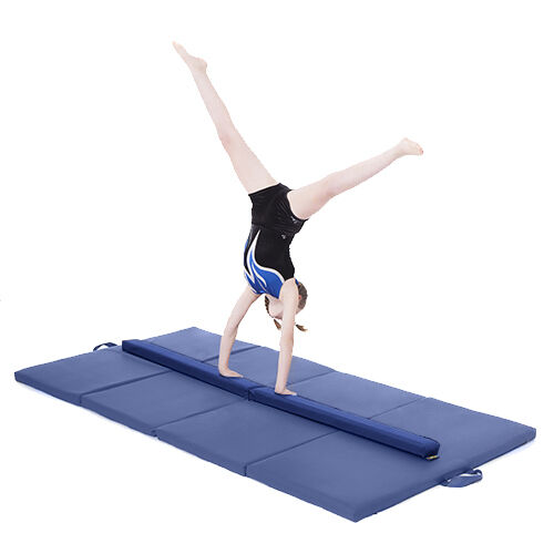 bluee Large 8ft Gymnastics Folding Balance Beam 2.4M Faux Leather Gym Training