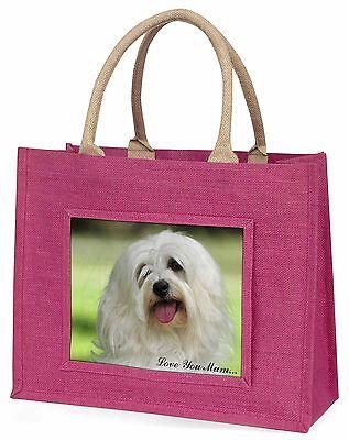 Havaneser Hund 'Liebe, die Sie Mama' Große Rosa Einkaufstasche