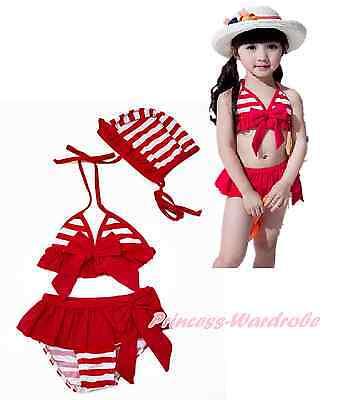 Hot Red White Stripes Ruffle Bow Kids Girl Bikini Swimsuit Hat 3pcs Set 3-8Year