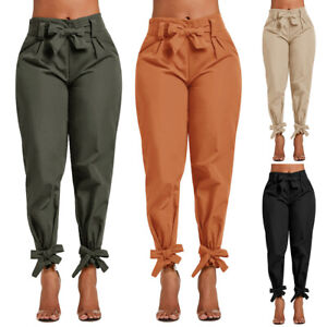 Women-Ladies-High-Waist-Ruffle-Bow-Tie-Pants-Solid-Casual-Work-Bottom-Trousers