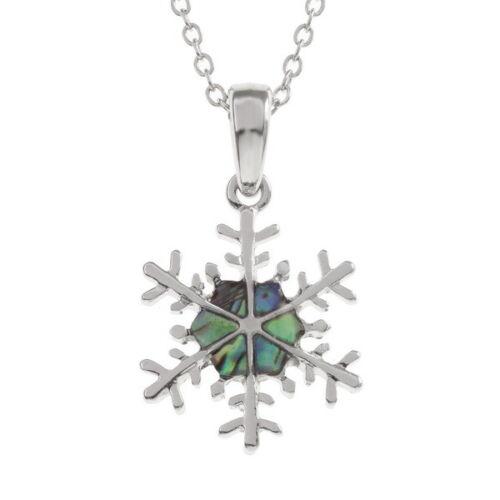 "Tide Jewellery inlaid Paua shell snowflake pendant on 18/""trace chain earrings"