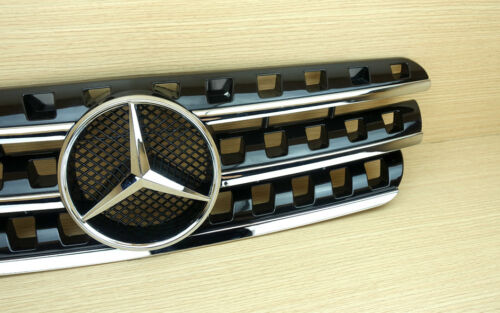Gloss Black Silver Front Grille Fit Mercedes-Benz M-Class W163 1998-2005 ABS