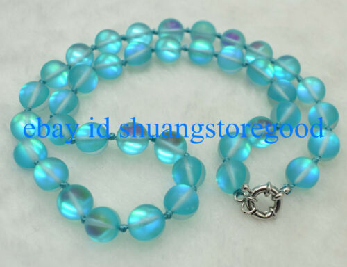 Natural 10mm Blue Gleamy Moonstone Round Gemstone Beads Necklace 18/'/' AAA