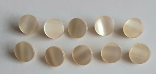 10 x 12mm Light Cream Pearlescent Shank Buttons FM990