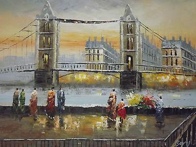 Old London Tower Bridge Large Oil Painting Canvas British Art Cityscape Original