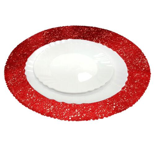 Glänzend Rot Weihnachten Platzdeckchen Gedeck Tisch Dekoration Rund Matte Party