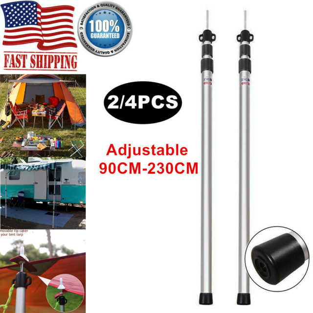 Outdoor Canopy Poles Camping Tent Tarp Pole Adjustable Awning Support Rod S7K4