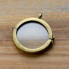 Round Glass Memory Box Pendant Hinged Locket Charm Frame Antique Bronze