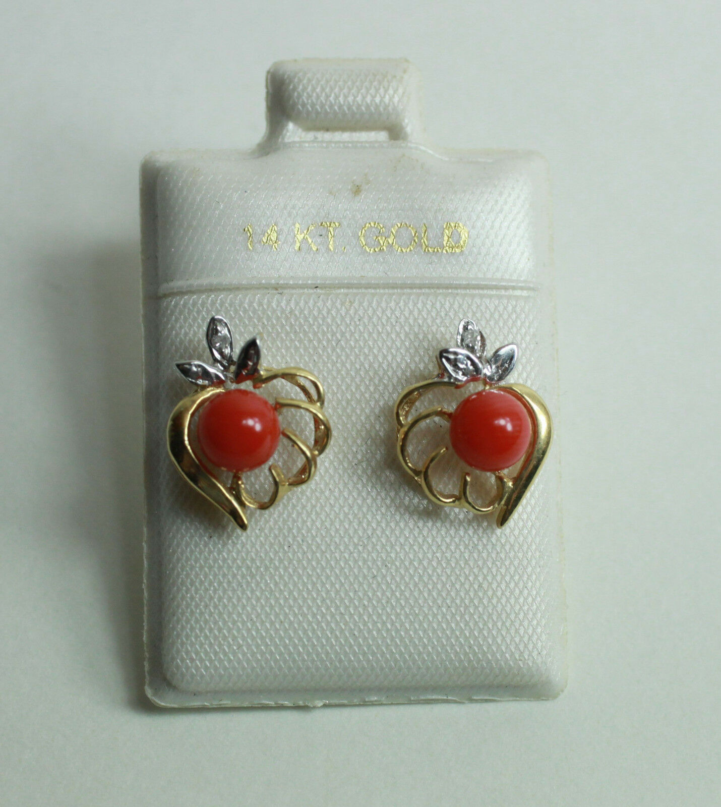 14K Yellow gold Genuine Round Ball Red Coral W  Diamond Heart Studs Earrings New