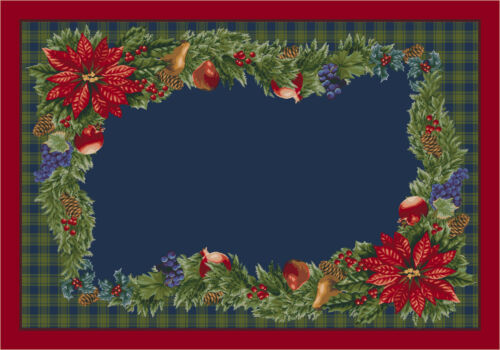 "Approx 2/'8/""x3/'10/"" 2x4 Milliken Bountiful 00203 Crimson Red Christmas Area Rug"