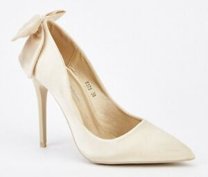 e4864754b8228 Details about SIZE 3 36 CREAM PALE CHAMPAGNE SATIN BOW BACK HIGH HEEL  BRIDAL WEDDING SHOES NWB