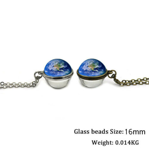 Solar System Necklace Planet Pendant Glass Ball Double Sided Long Chain