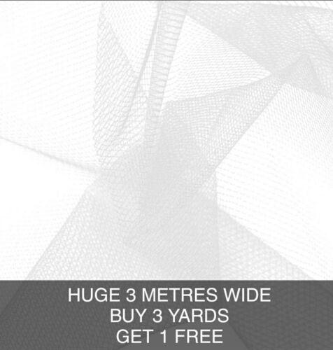 White 100/% Nylon Mesh Net Soft Bridal Veiling Tulle Stretch Fabric 280CM WIDE